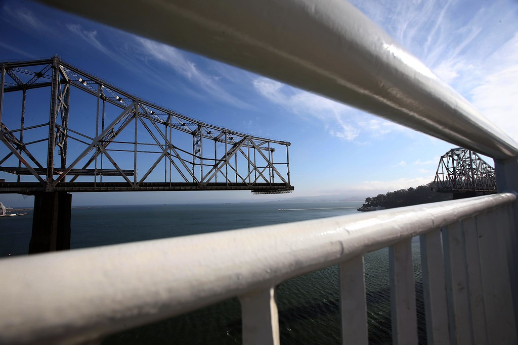 . The approximately 800-foot gap of the old eastern span of the Bay Bridge is seen from the bike and pedestrian path on the new Bay Bridge near Yerba Buena Island in San Francisco, Calif., on Thursday, Sept. 4, 2014. (Jane Tyska/Bay Area News Group)