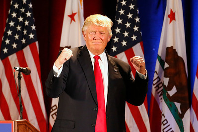 Presidential candidate Donald Trump arrives to cheers from the crowd at a rally at the San Jose Convention Center in San Jose, Calif., on Thursday, June 2, 2016. (Gary Reyes/Bay Area News Group)