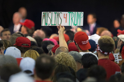A Muslim supporter holds up a sign during Donald Trump's rally at the San Jose Convention center in San Jose, Calif., on Thursday, June 2, 2016. (LiPo Ching/Bay Area News Group)