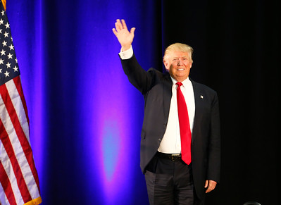 Presidential candidate Donald Trump arrives at a rally at the San Jose Convention Center in San Jose, Calif., on Thursday, June 2, 2016. (Gary Reyes/Bay Area News Group)