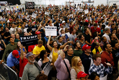 A large crowd listens as presidential candidate Donald Trump speaks at a rally at the San Jose Convention Center in San Jose, Calif., on Thursday, June 2, 2016. (Gary Reyes/Bay Area News Group)