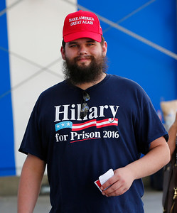 Jesse Harlow, of Fremont, proudly wears his anti-Hillary Clinton t-shirt during a Donald Trump rally at the San Jose Convention Center in San Jose, Calif., on Thursday, June 2, 2016.  (Gary Reyes/Bay Area News Group)