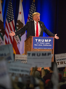 Presumptive Republican presidential nominee Donald Trump speaks at a rally at the San Jose Convention Center in San Jose, Calif., on Thursday, June 2, 2016. (LiPo Ching/Bay Area News Group)