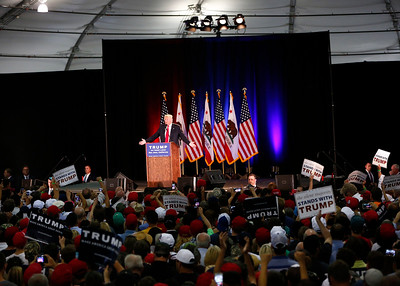 Presidential candidate Donald Trump speaks to the crowd at a rally at the San Jose Convention Center in San Jose, Calif., on Thursday, June 2, 2016. (Gary Reyes/Bay Area News Group)