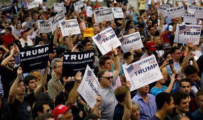 The crowd reacts to presidential candidate Donald Trump during his speech during a rally at the San Jose Convention Center in San Jose, Calif., on Thursday, June 2, 2016. (Gary Reyes/Bay Area News Group)