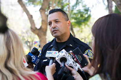 San Jose Police Department Lt. Eduardo Pedreira speaks to the media after a shooting homicide in downtown San Jose, Calif., on Tuesday, June 18, 2016. (LiPo Ching/Bay Area News Group)