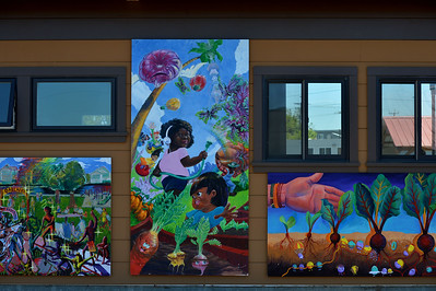 Artwork at City Slicker Farms in Oakland, Calif., photographed on Friday, June 24, 2016. This urban farm grows and sells their produce on site in a totally urban setting. (Dan Honda/Bay Area News Group)