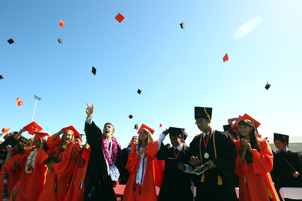 . Washington High School Class of 2013 graduates celebrate during their commencement ceremony in Fremont, Calif., on Wednesday, June 19, 2013. (Anda Chu/Bay Area News Group)