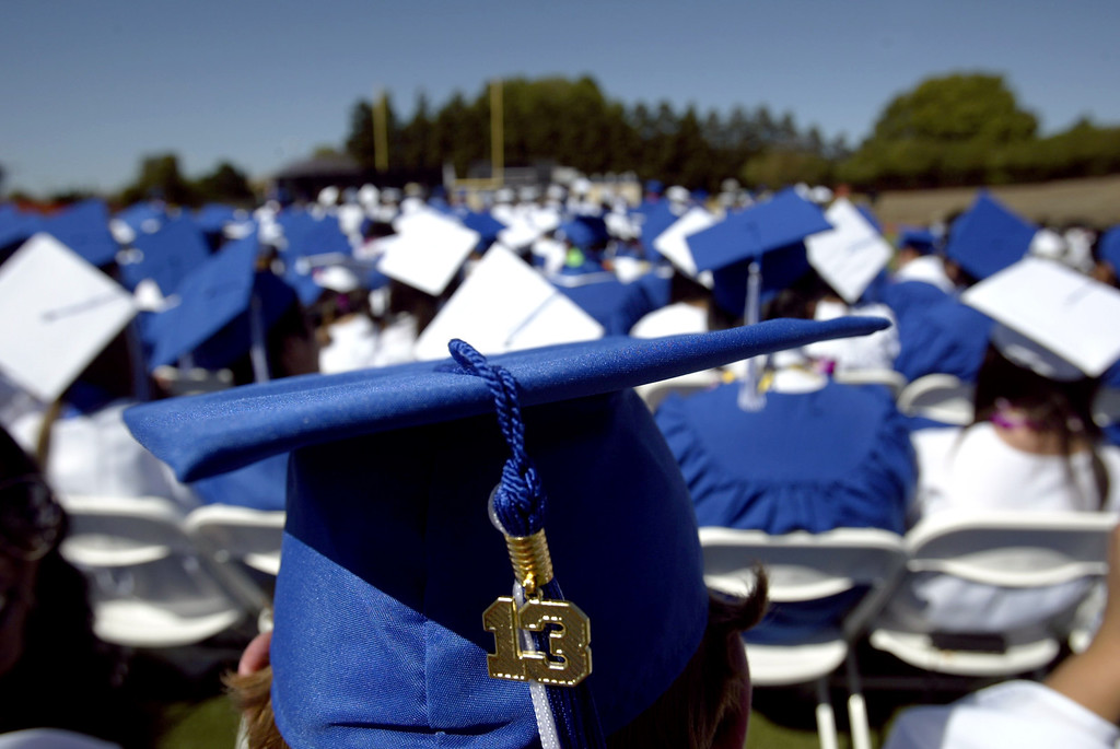 . Irvington High School graduates attend their commencement ceremony in Fremont, Calif., on Thursday, June 20, 2013. (Anda Chu/Bay Area News Group)