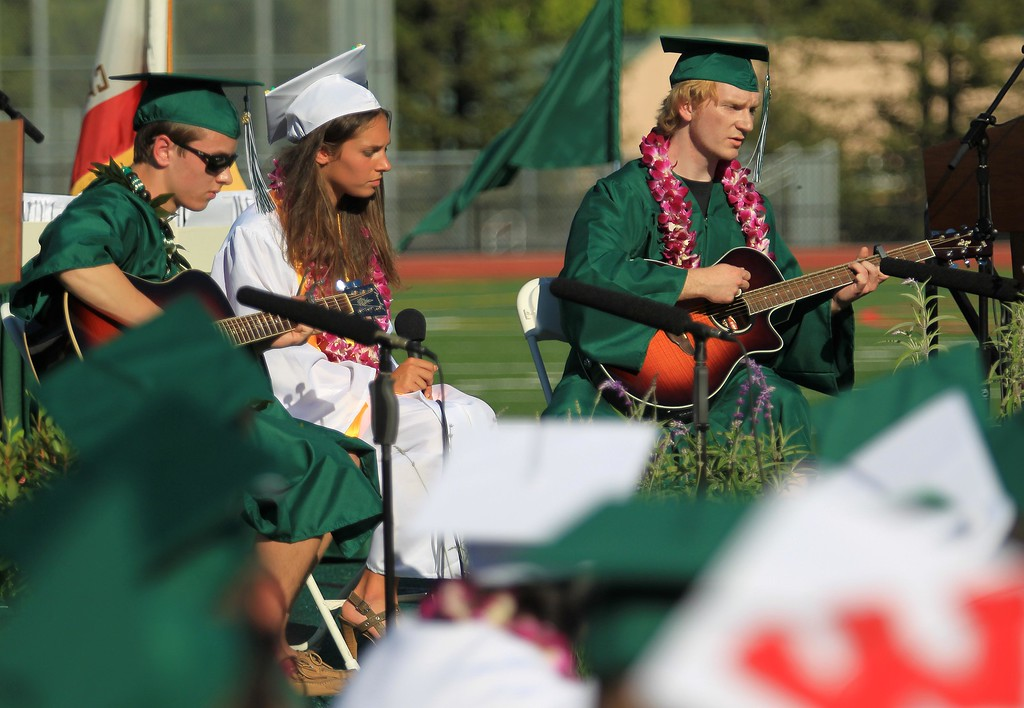 """. John Pugliese, Anna Boer and Toran Davenport, left to right, play Bob Dylan\'s \""""The Times They Area A Changin\"""" during the Miramonte High School\'s 54th commencement ceremony in Orinda, Calif., on Friday, June 7, 2013.  (Jane Tyska/Bay Area News Group)"""