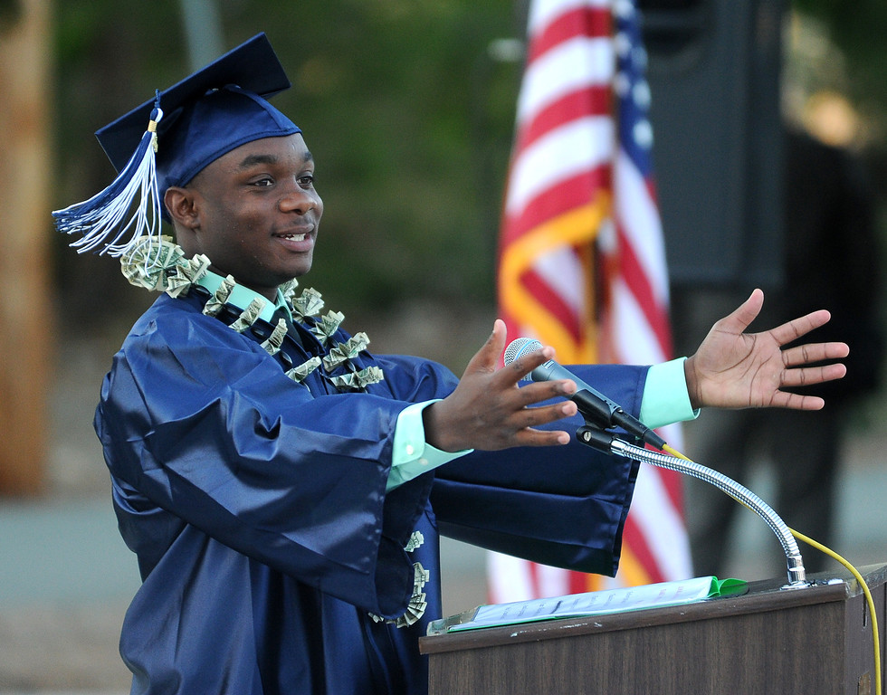 . Graduate Maalec Thomas gives a class speech during the commencement ceremony for Vicente-Martinez High School and Briones School in Martinez, Calif., on Wednesday, June 5, 2013. The graduation also featured a class speech by graduate Serenity McGill, a performance by graduate Nicholas Napolitano and scholarship presentations by Martinez organizations. (Doug Duran/Bay Area News Group)