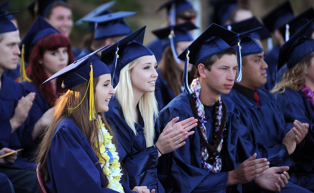 . Vicente-Martinez High School and Briones School graduates take part in their commencement ceremony in Martinez, Calif., on Wednesday, June 5, 2013. The graduation featured class speeches by graduates Maalec Thomas and Serenity McGill, a performance by graduate Nicholas Napolitano and scholarship presentations by Martinez organizations. (Doug Duran/Bay Area News Group)
