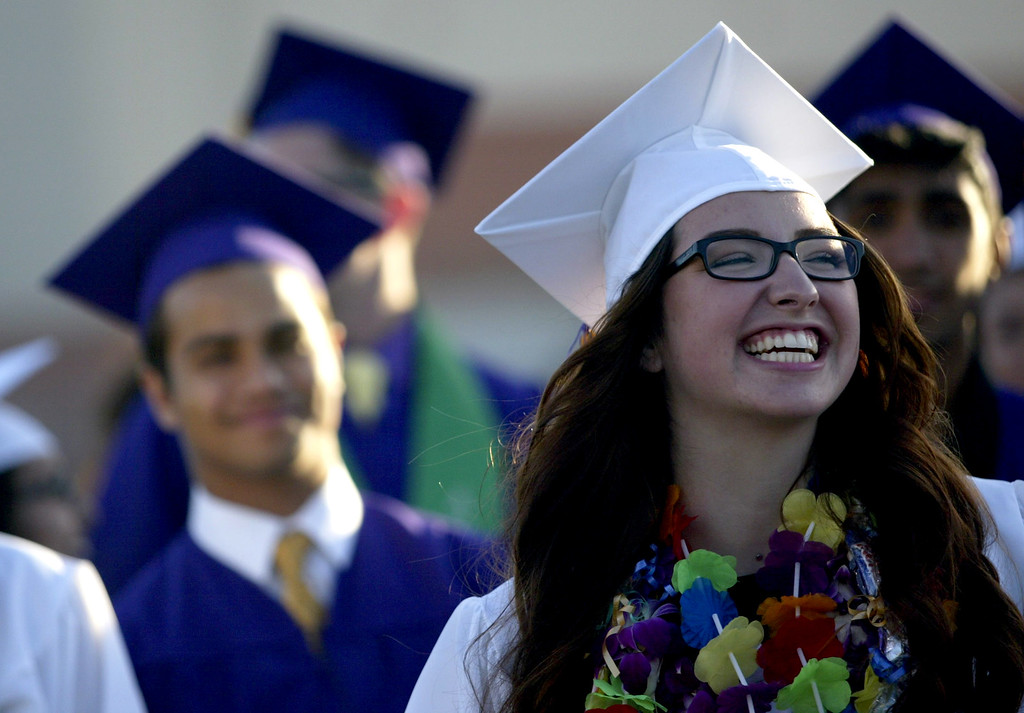 . Shelby Medeiros, 18, Kennedy High School graduate is all smiles during the school\'s  commencement ceremony in Fremont, Calif., on Wednesday, June 19, 2013. (Anda Chu/Bay Area News Group)