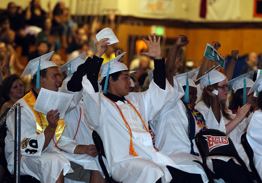 . Class of 2013 graduates celebrate during their graduation ceremony at the California School for the Deaf in Fremont, Calif., on Friday, June 7, 2013. Forty seniors make up the school\'s 141st CSD graduating class. (Anda Chu/Bay Area News Group)