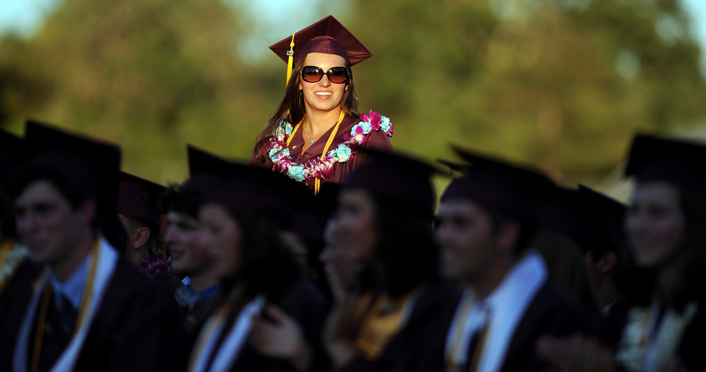 . Kelsey Leonard stands as her name is called during the presentation of awards at the 2013 Las Lomas High School Commencement held on the Las Lomas High School campus in Walnut Creek, Calif. on Friday, June 7, 2013. (Dan Honda/Bay Area News Group)