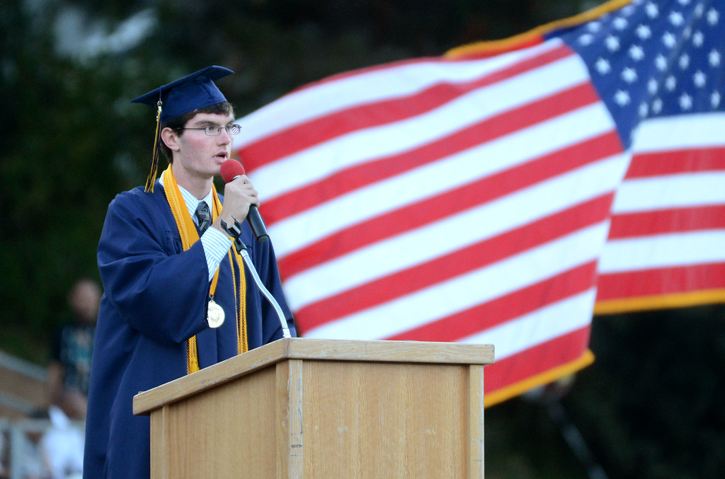 . Alhambra High School\'s class of 2013 valedictorian Keith Farwell, gives a speech during their commencement ceremony in Martinez, Calif., on Friday, June 7, 2013. The graduation also featured a song by graduates Halia Roth, Ericka March, Connor Francis, and Harrison Flynn. Class president Christain Bumala and Salutatorian Thomas Schwemberger also gave speeches. (Doug Duran/Bay Area News Group)