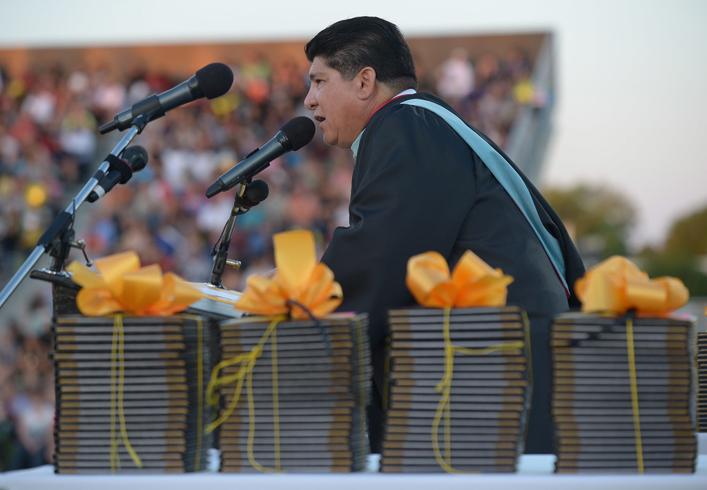 . Antioch High School principal Louie Rocha speaks to the graduating class of 2013 during graduation ceremonies at Antioch High School in Antioch, Calif., on Thursday, June 6, 2013. (Jose Carlos Fajardo/Bay Area News Group)