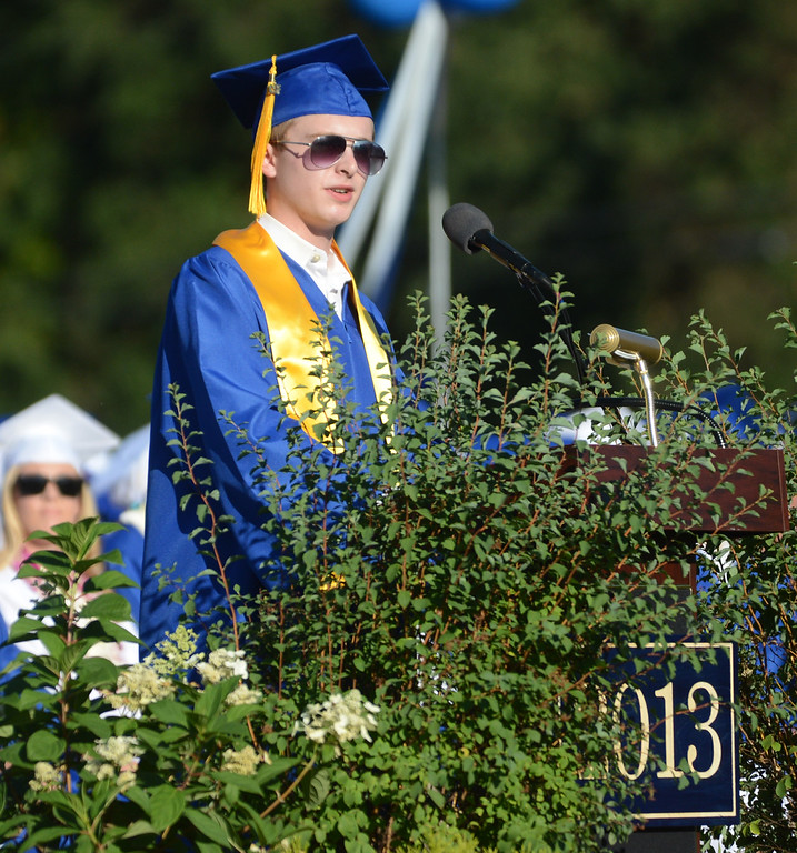 . Acalanes High School graduate Edward Huddart gives a speech during their commencement ceremony in Lafayette, Calif., on Friday, June 7, 2013. The graduation also featured a speech from graduate Carolyn Moore. (Doug Duran/Bay Area News Group)
