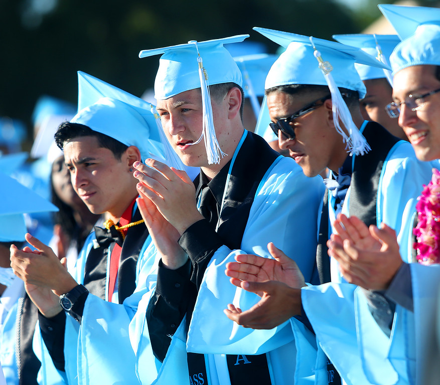 . Tennyson High School graduates take part in commencement ceremonies on Thursday, June 13, 2013 in Hayward, Calif.  (Aric Crabb/Bay Area News Group)