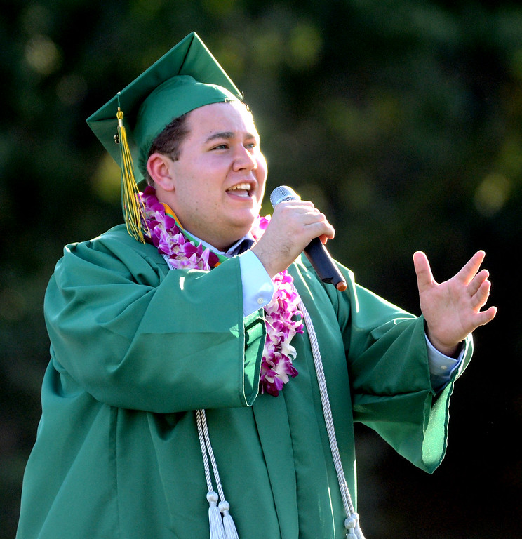 """. San Ramon Valley High School graduate Jonathon Miller, sings \""""This is the Moment\"""" during the school\'s Commencement Ceremony in Danville, Calif., on Friday, June 14, 2013. (Doug Duran/Bay Area News Group)"""