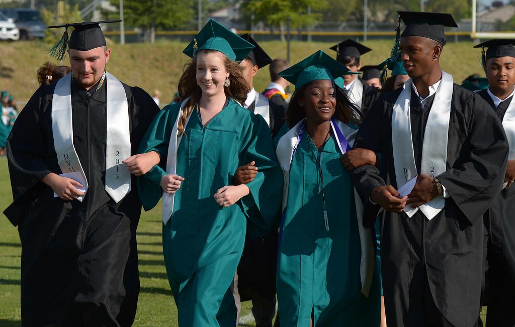 . Deer Valley High School students walk towards the stage during graduation ceremonies at Deer Valley High School in Antioch, Calif., on Thursday, June 6, 2013. (Jose Carlos Fajardo/Bay Area News Group)