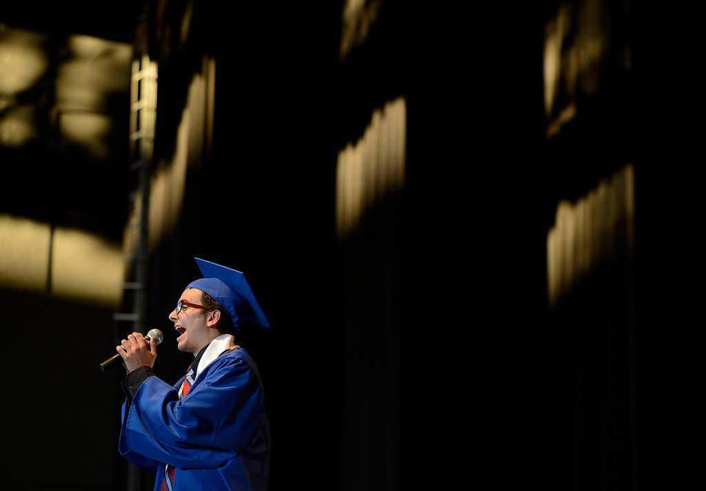 """. Clayton Valley Charter High School student Jacob Ben-Shmuel sings \""""I Can Go The Distance\"""" during commencement ceremonies on Thursday, May 30, 2013 at Sleep Train Pavilion in Concord, Calif. (Jose Carlos Fajardo/Bay Area News Group)"""