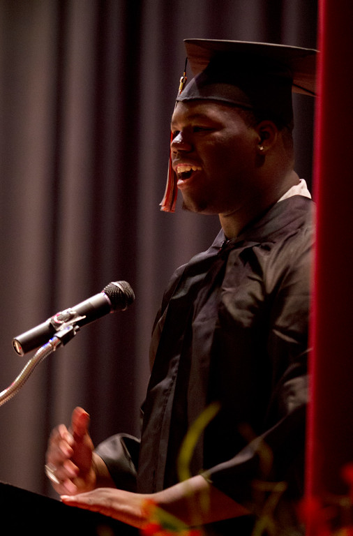. Kevin Vaughn recalls his first day at McClymonds High School during the graduation ceremonies for the Class of 2013, Thursday, June 13, 2013 in Oakland, Calif. (D. Ross Cameron/Bay Area News Group)