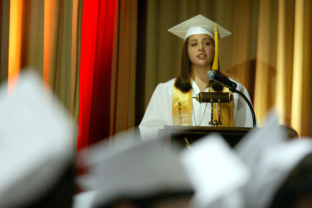 . Salutatorian Laura Bobich addresses friends, family members and classmates of Carondelet High School Class of 2013 during their commencement ceremony at Carondelet High School in Concord, Calif., on Sunday, May 19, 2013. (Ray Chavez/Bay Area News Group)