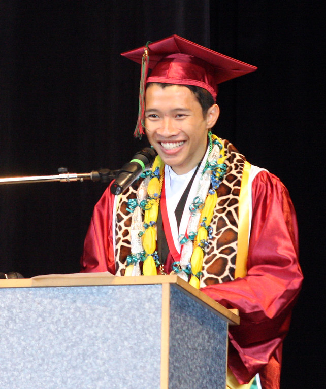 . Valedictorian Ekkalux Nguyen gives his speech at graduation ceremonies for Mt. Diablo High School held at the Sleep Train Pavilion in Concord, Calif., on Sunday, June 9, 2013. It is the 100th anniversary of the school,  which graduated three students in 1913 and 300 on Sunday. (Jim Stevens/Bay Area News Group)