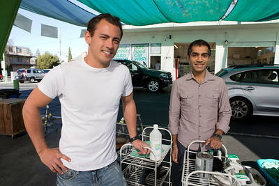 From left, EcoGreen Auto Clean Founder Anton Van Happen and Partner Dinesh Gauba at EcoGreen Auto Clean, in Redwood City, Calif., on Friday, January 31, 2014.  (LiPo Ching/Bay Area News Group)