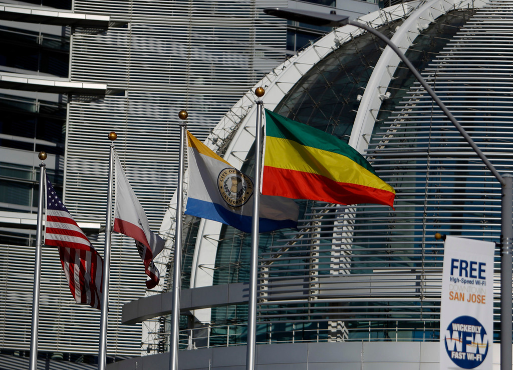 ". The Ethiopian flag is being flown for a week at City Hall  in honor of the Ethiopian ""Enkutatash\""  new year celebration in downtown San Jose, Calif., on Sunday, Sept. 8, 2013. (Josie Lepe/Bay Area News Group)"