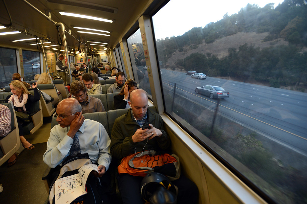 . Traffic appears light on Highway 24 at 7:18 a.m. on the first day of the Bay Bridge closure as other commuters choose to ride BART westbound  in Orinda, Calif., on Thursday, Aug. 29, 2013. (Susan Tripp Pollard/Bay Area News Group)