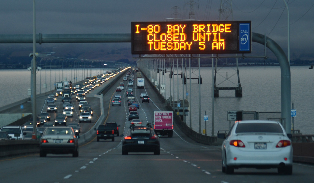 . Westbound traffic on the San Mateo Bridge is thick on the first day of the Bay Bridge closure, at 7 a.m. on Thursday, Aug. 29, 2013. (Karl Mondon/Bay Area News Group)