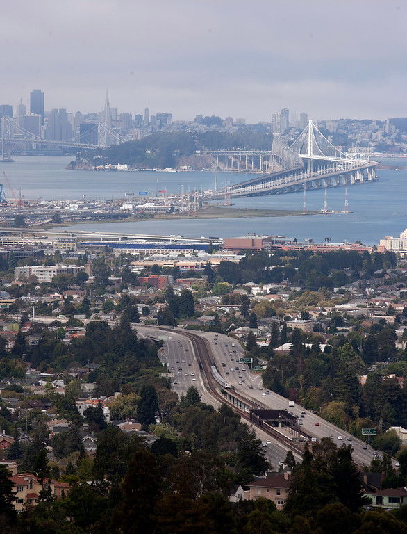 . Commuter traffic was surprisingly light approaching the Bay Bridge, which was closed Wednesday night so that the construction of the new eastern span of the bridge can be completed, seen Thursday, Aug. 29, 2013, in Oakland, Calif. (D. Ross Cameron/Bay Area News Group)