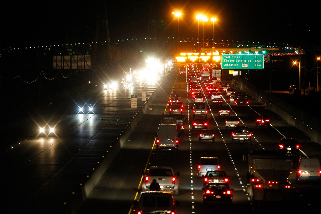 . Automobiles move along Highway 92 near the toll plaza of the San Mateo-Hayward Bridge on Thursday, Aug. 29, 2013, in Hayward, Calif.  (Aric Crabb/Bay Area News Group)