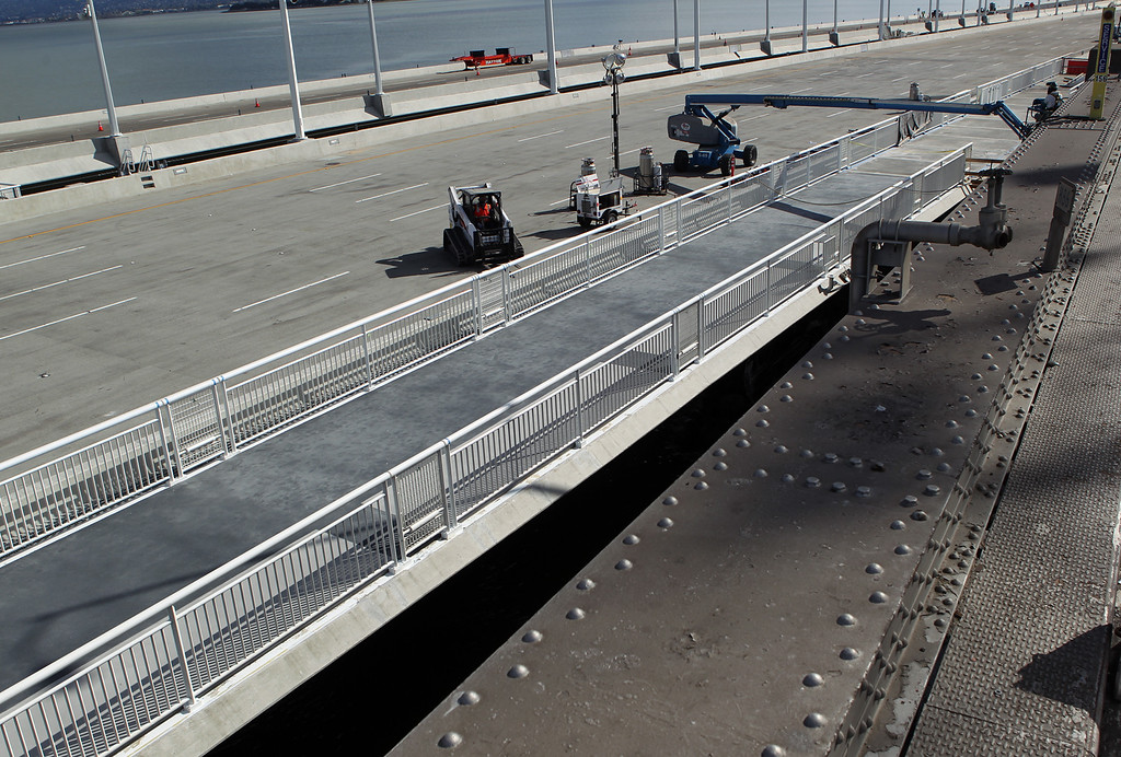 . The bike path on the new Bay Bridge is seen here in Oakland, Calif., on Saturday, Aug. 31, 2013. According to Caltrans, progress continues to remain on schedule on the third day of the bridge closure. (Anda Chu/Bay Area News Group)
