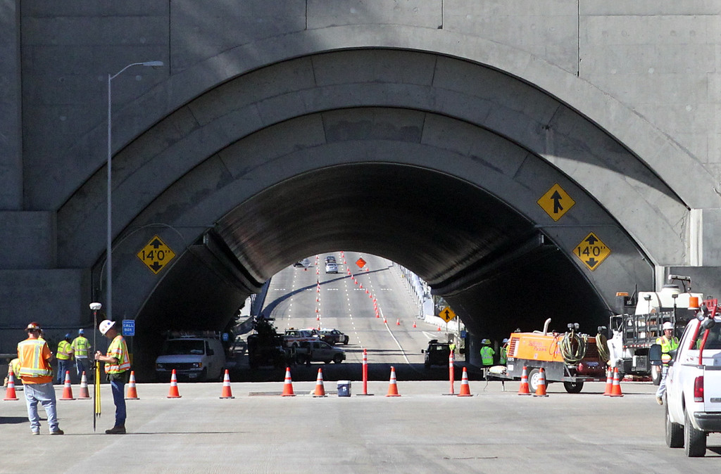 . Work continues on the Yerba Buena tunnel of the Bay Bridge in Oakland, Calif., on Saturday, Aug. 31, 2013. According to Caltrans, progress continues to remain on schedule on the third day of the bridge closure. (Anda Chu/Bay Area News Group)