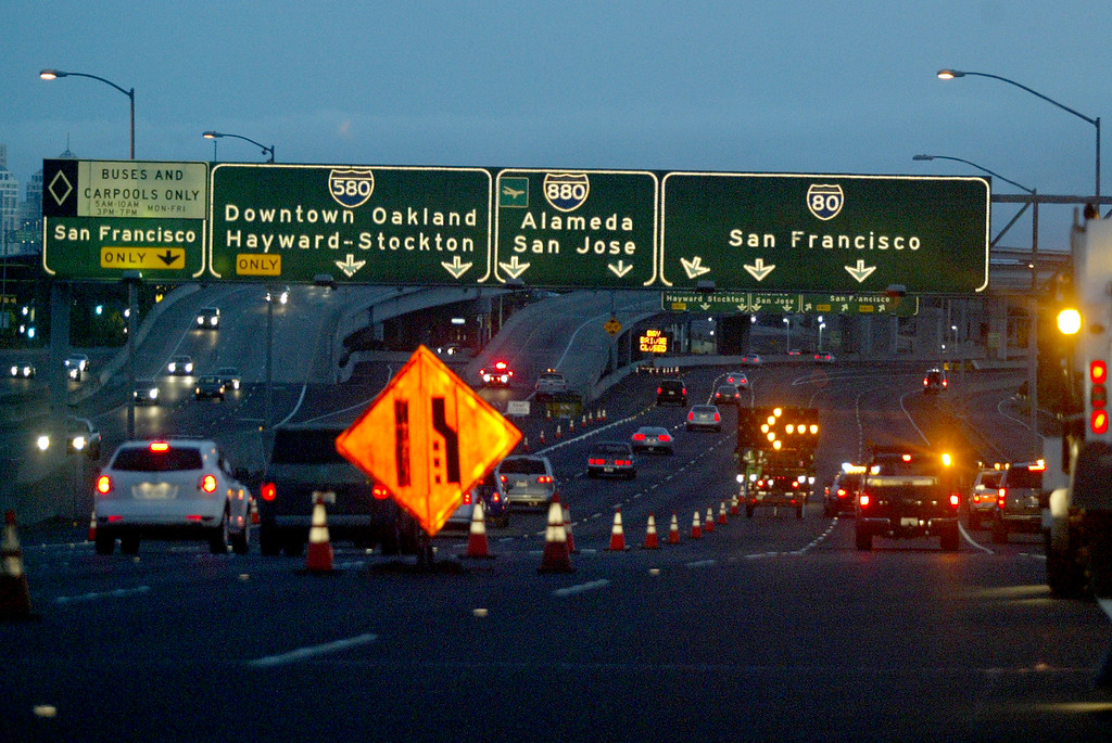 . The California Highway Patrol and Caltrans close the westbound Interstate 80 lanes towards San Francisco as they to begin work on the old and new eastern span of the Bay Bridge in Oakland, Calif., on Wednesday, Aug. 28, 2013. The new eastern span is scheduled to open on Tuesday, Sept. 3, at 5 a.m. (Ray Chavez/Bay Area News Group)