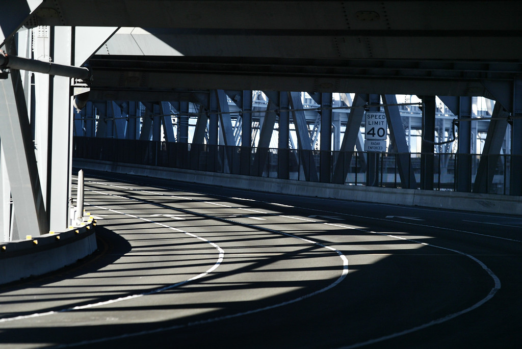 . View of the S curve section of the lower deck of the old eastern span of the Bay Bridge in San Francisco, Calif., on Thursday, Aug. 30, 2013.  (Ray Chavez/Bay Area News Group)