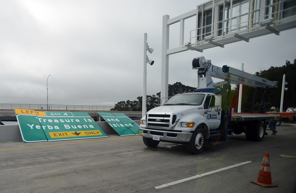 . Signs await installation on the Bay Bridge in Oakland, Calif. on Thursday, Aug. 29, 2013. (Kristopher Skinner/Bay Area News Group)