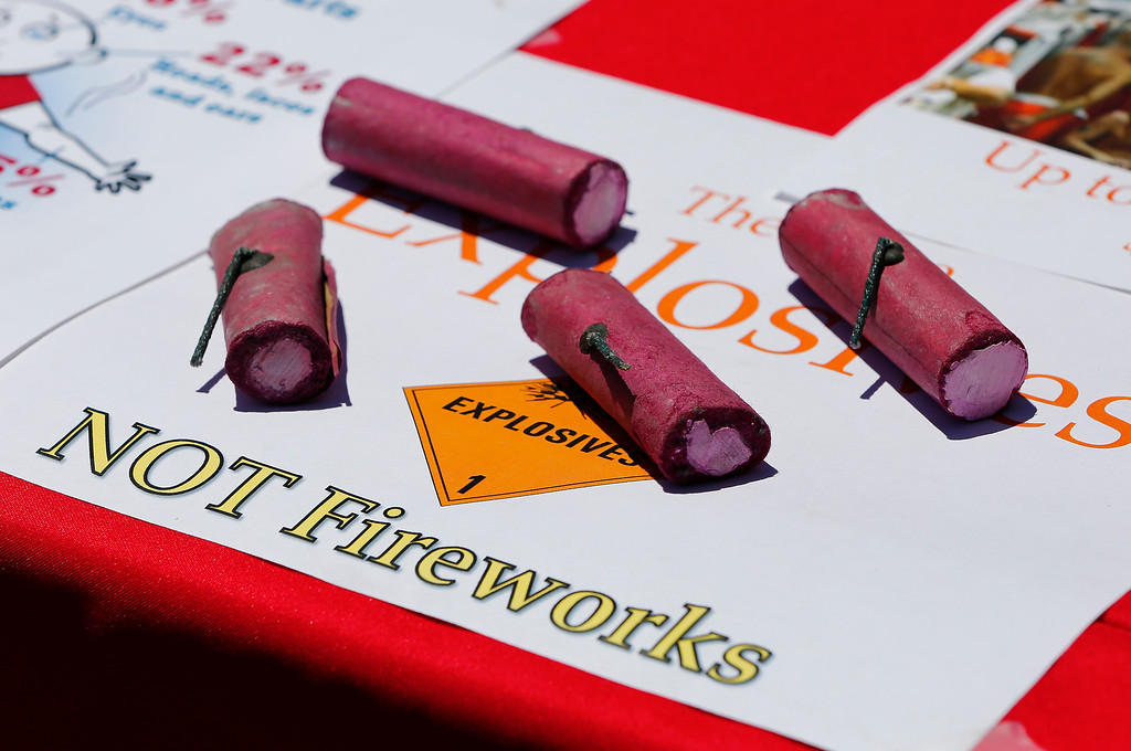 . Illegal fireworks are on display at Vasona Lake County Park at a press conference held by fire officials warning the public of the dangers of using illegal fireworks in Los Gatos, Calif., on Monday, June 27, 2016. City officials announced stiffer penalties that include a $500 fine for the first offense for use of illegal fireworks. (Gary Reyes/Bay Area News Group)