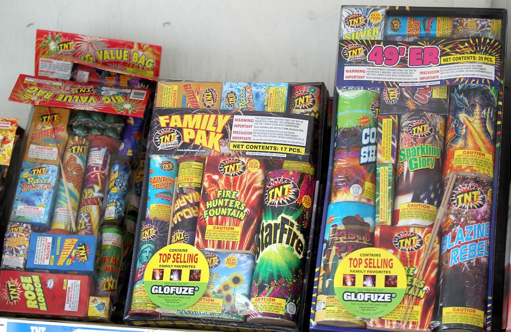 ". \""Safe and sane\"" fireworks for a sale at a stand along Dublin Boulevard in Dublin, Calif., on Thursday, June 30, 2016.  (Anda Chu/Bay Area News Group)"