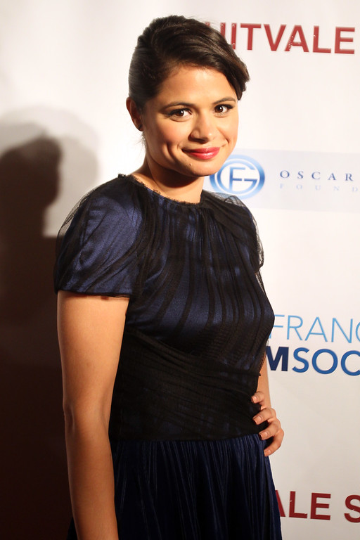 . Melonie Diaz, who plays the role as Oscar Grant\'s girlfriend in the award winning film Fruitvale Station poses for photos on the red carpet before a private screening at the Grand Lake Theater in Oakland, Calif., on Thursday, June 20, 2013.  The film chronicles the last hours of Oscar Grant\'s life before he was shot and killed on New Year\'s Eve 2009. (Ray Chavez/Bay Area News Group)