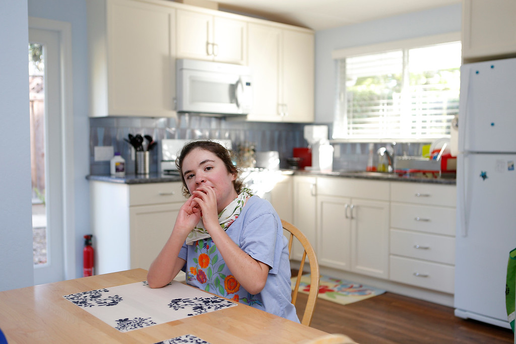 . Kim Dvorak, 26,  is photographed in the kitchen of her studio in Menlo Park, Calif., on Thursday, June 30, 2016.  Her family built an accessory unit for her, a 640-square-foot studio apartment in a converted garage. (Josie Lepe/Bay Area News Group)