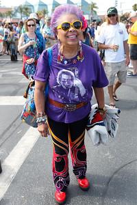 Lucrecia Fontes, 81, of San Francisco, heads to the Grateful Dead concert at Levi's Stadium in Santa Clara, Calif., on Saturday, June 27, 2015. (Jim Gensheimer/Bay Area News Group)