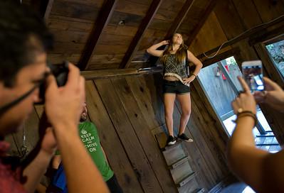 Devyn Ballard, 14, of Santa Rosa, poses for a photo while balancing against a wall at The Mystery Spot in Santa Cruz, Calif., on Saturday, Sept. 26, 2015.  (LiPo Ching/Bay Area News Group)