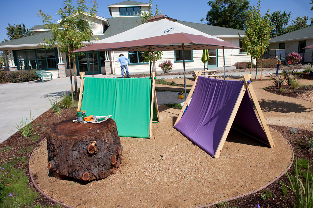 . Portable pup tents are some of the fun items waiting for children at the Harker School\'s new preschool in San Jose Wednesday, July 31, 2013. The school opens in September. (Patrick Tehan/Bay Area News Group)