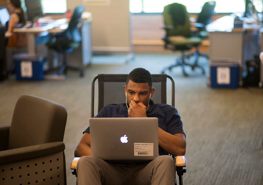 . Engineer Corey Jackson works on a computer at IBM Almaden Labs in San Jose, Calif., Wednesday, Aug. 3, 2016.  IBM Almaden Labs will celebrate its 30th anniversary on August 11.  (Patrick Tehan/Bay Area News Group)
