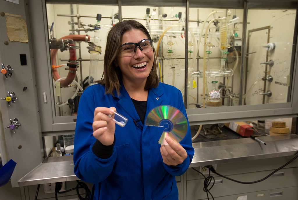 . Researcher Jeannette Garcia discusses her discovery of a process to recycle CDs at IBM Almaden Labs in San Jose, Calif., Wednesday, Aug. 3, 2016.  IBM Almaden Labs will celebrate its 30th anniversary on August 11.  (Patrick Tehan/Bay Area News Group)