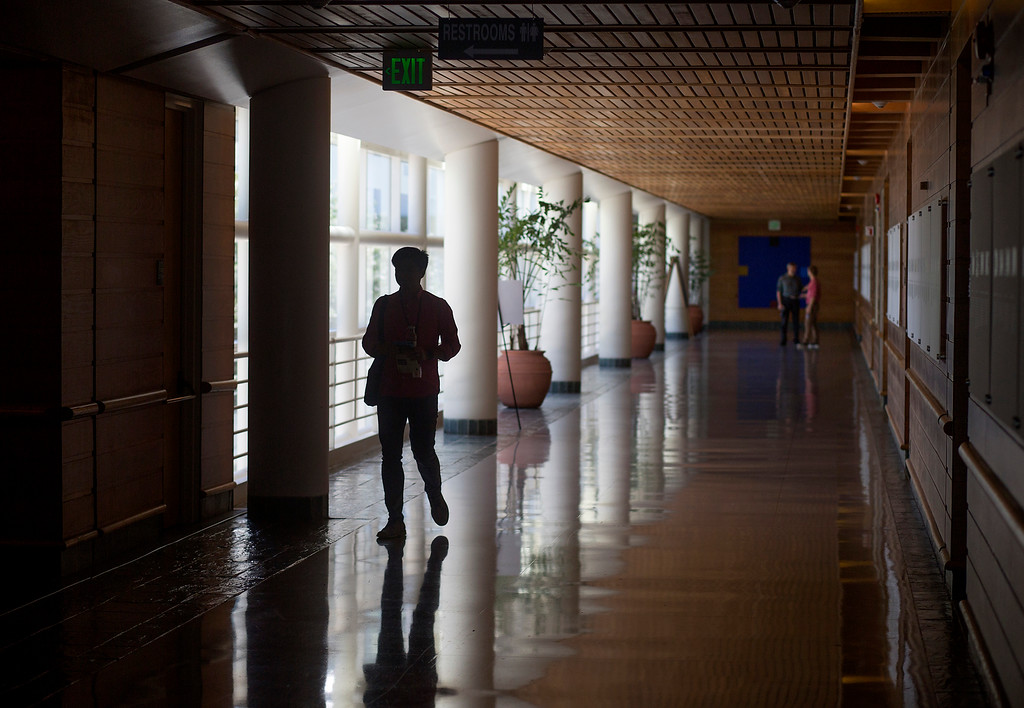 . Engineers walk the hallways at IBM Almaden Labs in San Jose, Calif., Wednesday, Aug. 3, 2016.  IBM Almaden Labs will celebrate its 30th anniversary on August 11.  (Patrick Tehan/Bay Area News Group)